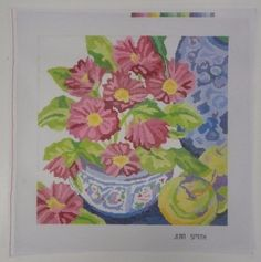 HAND PAINTED NEEDLEPOINT Bowl of Pink Flowers by JEAN SMITH