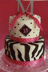 Polka dot and zebra black, white and pink cake for an older child