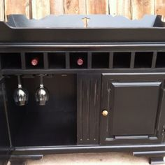 Dry sink converted to bar. I like the idea of removing the drawers and turning them into a wine rack