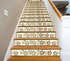 Historic Home Flower Design 653 Stair Risers Paper Wallpaper, Vinyl Wallpaper, Stair Risers, Stairs, Decoration Photo, Flower Texture, Texture Art, 3d Tiles, Vinyl Doors