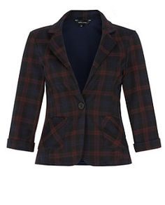 Blue Pattern (Blue) Navy Check Single Button Blazer  | 325144749 | New Look