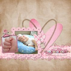 baby boy scrapbook layout ideas | Digital Scrapbooking by Michelle: Sweet Baby Girl by RK Designs #babyscrapbooks