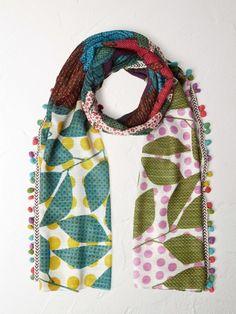 Polka parrots scarf