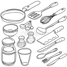 Kitchen Tools Drawings kitchen tool utensil equipment doodle drawing sketchleremy