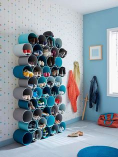 Blue, Turquoise, Room, Furniture, Wall, Interior design, Shelf, Textile, Lampshade, Pattern, Shoe Storage Design, Diy Shoe Storage, Rack Design, Bedroom Storage, Storage Ideas, Entryway Storage, Small Storage, Storage Rack, Shoe Rack Models