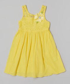 Look at this Yellow Crochet Flower Dress - Girls on #zulily today!