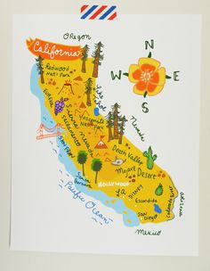 California illustrated map- for our road trip Travel Maps, Travel Posters, Nevada, Illustrations, Illustration Art, California Map, California Pictures, California Poppy, Art Carte