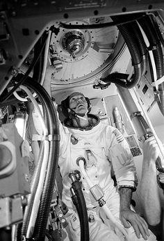 Stock Photo - Astronaut Michael Collins, command module pilot of the Apollo 11 flight, is seen inside an Apollo Command Module (CM) mockup in Building 5 practicing procedures with the Apollo Apollo 9, Nasa Photos, Nasa Images, Michael Collins, Neil Armstrong, Nasa New Horizons, Apollo Space Program, Apollo Missions, Nasa History