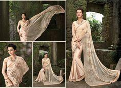 Indian wedding wear saree design bollywood bridal pakistan pure-satin blush sari…
