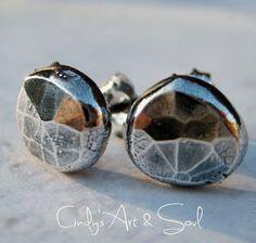 Hammered Silver Nugget Post Earrings by Cindy's Art & Soul Jewelry www.artandsouljewelry.com