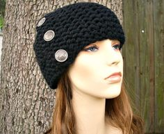 Knit Hat Womens Hat  Cardigan Beanie Hat in Black by pixiebell