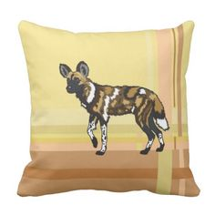 african wild dog and leopard throw pillow