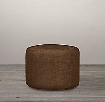"""20"""" Cooper Upholstered Round Ottoman / FABRIC: BELGIAN LINEN : Coffee"""
