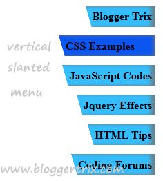 CSS3 Slanted Vertical Menu For Blogger | Blogger Trix | Blogger Tips and Tricks | Free Templates