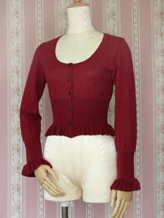 Victorian Maiden Victorian Frill Cardigan in Poppy Red, Wine, Navy and Offwhite (low priority)