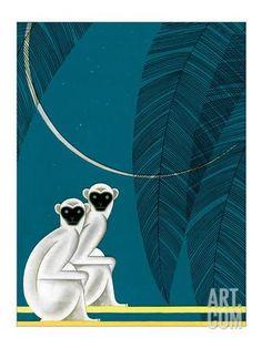 Two Monkeys Art Print by Frank Mcintosh at Art.com