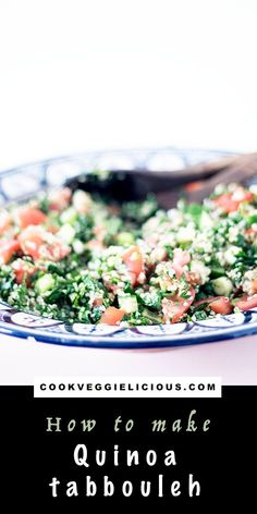A classic middle-eastern salad with a twist, this quinoa tabbouleh is packed full of fresh herbs, zingy lemon juice, fresh veggies and protein-rich quinoa. Gluten free and vegan. #tabbouleh #salad #vegansalad #vegantabbouleh #quinoatabbouleh