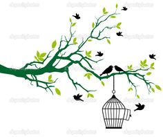 Free Art drawings birds | Tree with birdcage and kissing birds | Stock Vector © beaubelle ...