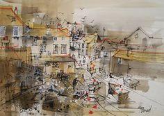 View Gallery | Mike Bernard | Port Isaac Mike Bernard, Port Isaac, Pen And Wash, Building Art, A Level Art, Sketch Inspiration, Art Photography, Street Art, Cornwall