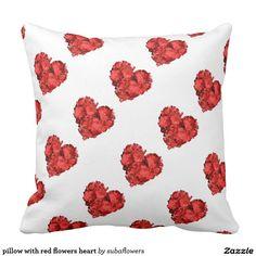 pillow with red flowers heart sierkussen