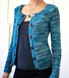 Knitting pattern for Costanza Cardigan - Etsy pattern lightweight yarn, knit in pieces. Lace at shoulders and lower sleeve area. Knitting Designs, Knitting Patterns, Stitch Patterns, Ravelry, Knit Cardigan Pattern, I Cord, Tailored Jacket, How To Purl Knit, Coat Patterns