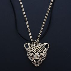 Fashion (Leopard Head Pendant)Alloy Leather Pendant Necklace – USD $ 2.99