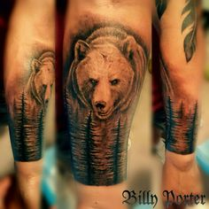 Bear in forest tattoo #newmexicoink #wildlife #beardown