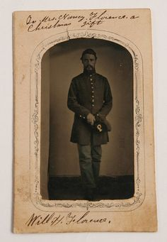 Tintype on paper mount of Will H. Florence, 1st Massachusetts Artillery.