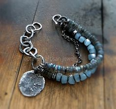 Blue Aquamarine Bracelet and Raw Sterling Silver by COTELLE