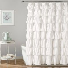 Elevate your bathroom to sanctuary status with the Emily Shower Curtain Collection from Lush Décor. The romantic, elegant design features layers of luxurious ruffles and lace borders that instantly create an atmosphere of quiet relaxation. Bathroom Red, Dream Bathrooms, Small Bathroom, Master Bathroom, Bathroom Ideas, Bathroom Designs, Master Baths, French Bathroom, Condo Bathroom
