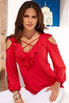 Ruffle lace-up top red hot blusas, blusas vermelhas и roupas Boston Proper, Stylish Outfits, Casual Wear, Lace Up, Clothes For Women, Womens Fashion, How To Wear, Dresses, Style