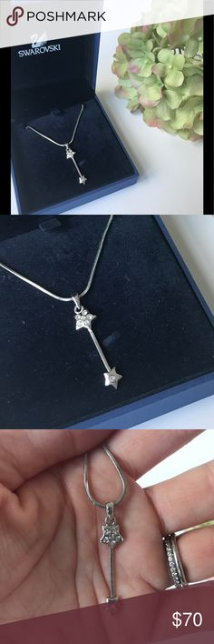 "SWAROVSKI SHOOTING STAR NECKLACE Whimsical and dainty silver necklace with shooting star crystal detail.  15"" necklace with lobster claw closure.  Never worn. Swarovski Jewelry Necklaces"