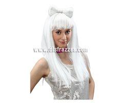 Peluca larga blanca con lazo Estrella del Pop