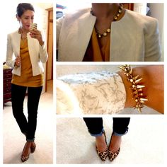 The Limited top (in mustard) // H blazer // White House|Black Market jeans // Target Mossimo Vivian Pointy Heel Leopard Pumps // Designer Inspired Jewel Necklace c/o Style Lately // Renegade bracelet c/o Erika Lehman for Stella & Dot.