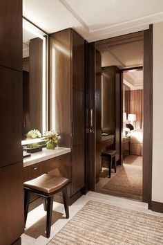 Studio Room Vanity Area at Marriott Singapore, designed by HBA/Hirsch Bedner Associates