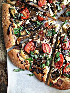 sweetsugarbean: Double Mushroom Pizza with Bacon & Balsamic Drizzle