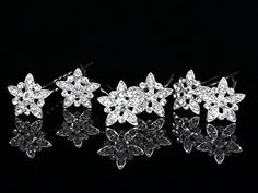 Set of 6 Star Flower Rhinestone Crystal Hair Pins H072 ** You can find out more details at the link of the image.