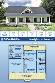 Country, Southern House Plan 77407 with 3 Beds, 2 Baths, 2 Car Garage Pole Barn House Plans, Garage House Plans, Family House Plans, New House Plans, Dream House Plans, Small House Plans, Pole Barn Homes, House Floor Plans, Car Garage