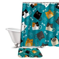 Buy Miracille Cartoon Shower Curtain Set Cute Cat Printed Design Fabric Polyester Waterproof Home Bathroom Decor Curtains and Carpet Cat Shower Curtain, Shower Curtain Sizes, Shower Curtains, Cat Design, Print Design, Home Online Shopping, Bathroom Carpet, Hotel Decor, Bath Decor