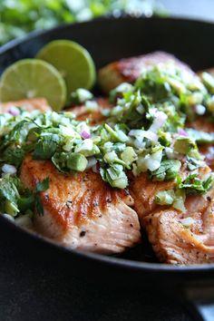 Seared Salmon with Avocado Salsa Verde