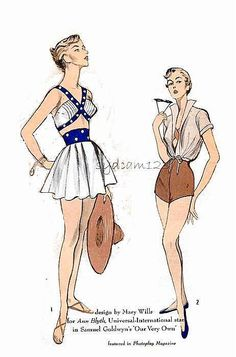 Vintage Rare 1950s Pattern Skirted Bathing Suit Back Tied Bra Top and Jacket Ann Blythe Movie Pattern 1950 Advance 5516 UNCUT