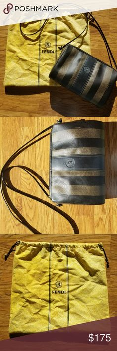 Fendi Purse Authentic!!! This bag comes with it's original dust bag. It has a few minor scratches on the front (5th picture) It has some minor tears in the fabric on the strap. They are in various places, but most are smaller than the one in picture 6. There is also minor tearing of the strap where it connects to the bag. If you would like more pictures or details about an item, please comment! I accept most reasonable offers.  I love to bundle! Bundle your likes and I will make you an…