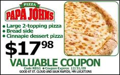 Papa Joes Pizza Coupons Ends of Coupon Promo Codes MAY 2020 ! Locally owned serve a in proudly over operated, well known also Well Jo. Free Printable Coupons, Free Printables, Joe's Pizza, Pizza Coupons, Dessert Pizza, Coupon Deals, Love To Shop, Coupon Codes