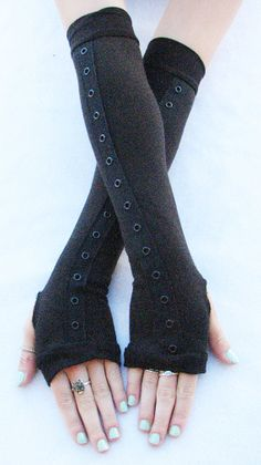 Black Arm Warmers Corset Grommets Fingerless Gloves Eco Friendly Bamboo, $20.00 - Mine.