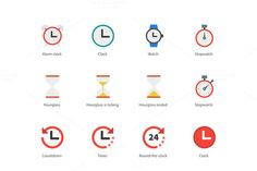 Time and Clock color icons on white @creativework247