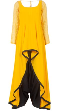 Payal Singhal presents Yellow and black kurta set available only at Pernia's Pop-Up Shop. Asian Wedding Dress, Indian Wedding Wear, Indian Attire, Indian Wear, Indian Dresses, Indian Outfits, Black Patiala Suit, Baroque Dress, Salwar Designs