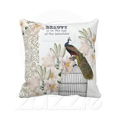 Elegant Lilies Peacock pillow from Zazzle.com
