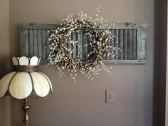 Chalk Painted Shutter with Dried Flower Wreath