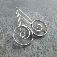Spiral Circles Sterling Silver Earrings - Wirework Metalwork Spirals Dangly £36.00
