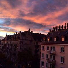 ZÜRICH city life...sun goes down.... Pink sky
